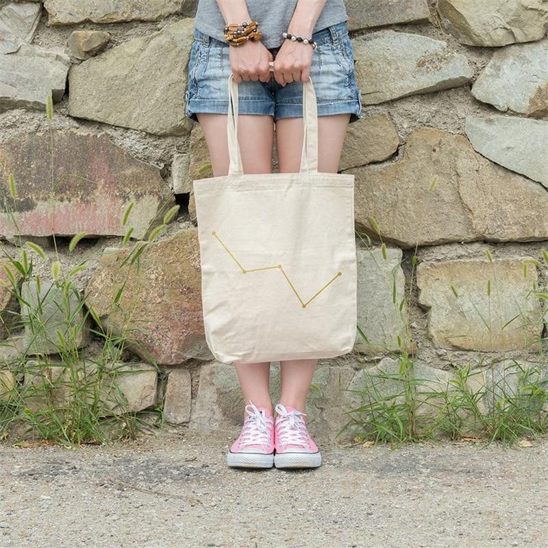 Купить с кэшбэком Cotton Tote Reusable Women Storage Shopping Bag Beach Handbags Grocery fruit bags CT001