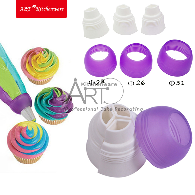 Caraselle Cake Decorating Set With 5 Nozzles And Piping Bag : 3pcs/set Icing Piping Bag Nozzle Converter Tri color Cream ...