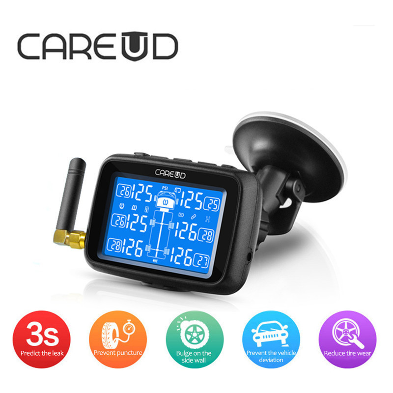 CAREUD U901 TPMS Auto Truck Car Tire Pressure Monitor System Replaceable Battery with 6 External Sensors