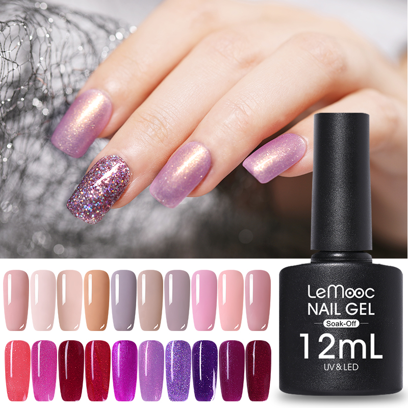 LEMOOC 12ml Big Bottle Nail Paint Gel 183 colors Polish Manicure Semi Soak Off UV Lacquer Varnishes