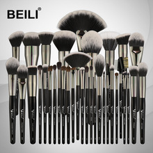 BEILI 35PCS Make-upborstels Set Professionele zachte natuurlijke haren Blending Eyebrow Eyeliner Concealer Foundation