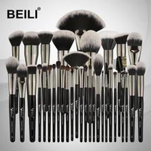 BEILI 35PCS Pinceles de maquillaje Set Professional Soft cerdas naturales Blending Eyebrow Eyeliner Concealer Foundation