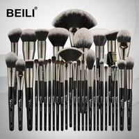 BEILI Black 35PCS Makeup Brushes Set Professional Soft Natural bristles Blending Eyebrow Concealer Cream Foundation Powder