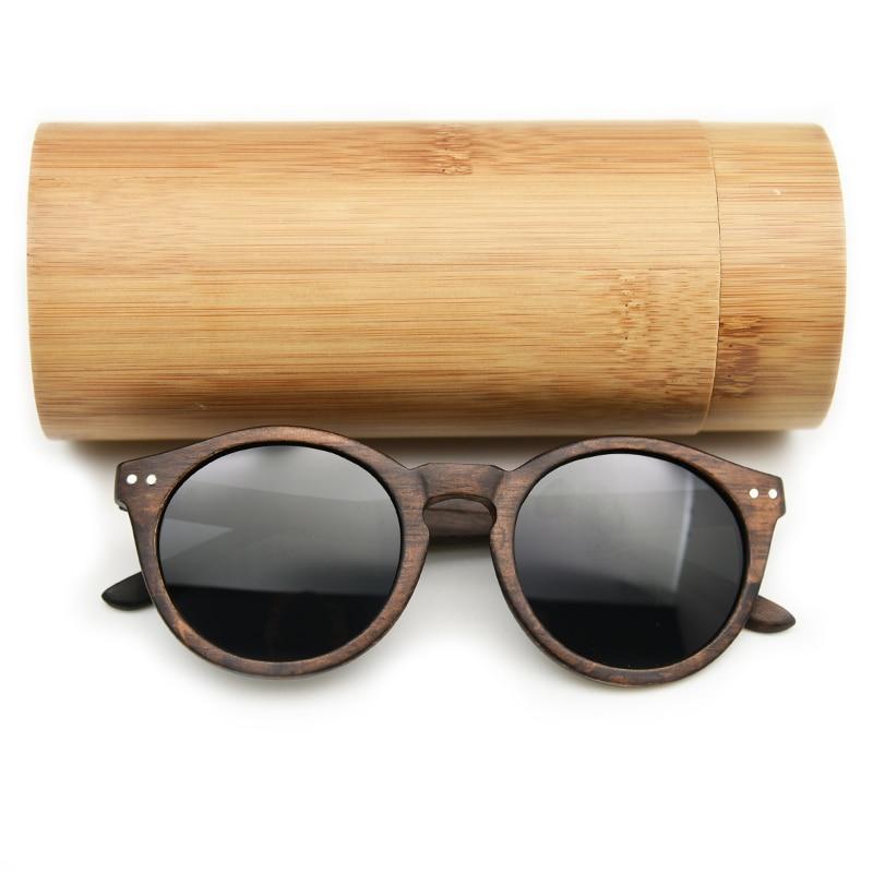2018 mujeres hombres gafas de sol de madera Cateye gafas redondas de la vendimia lente polarizada envío gratis
