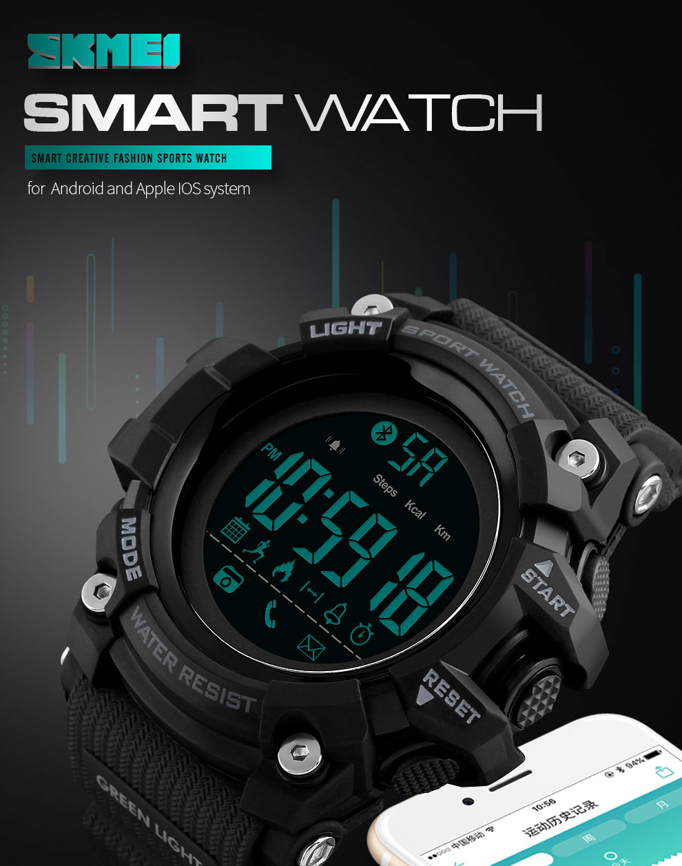 Skmei relógio inteligente dos homens marca esporte