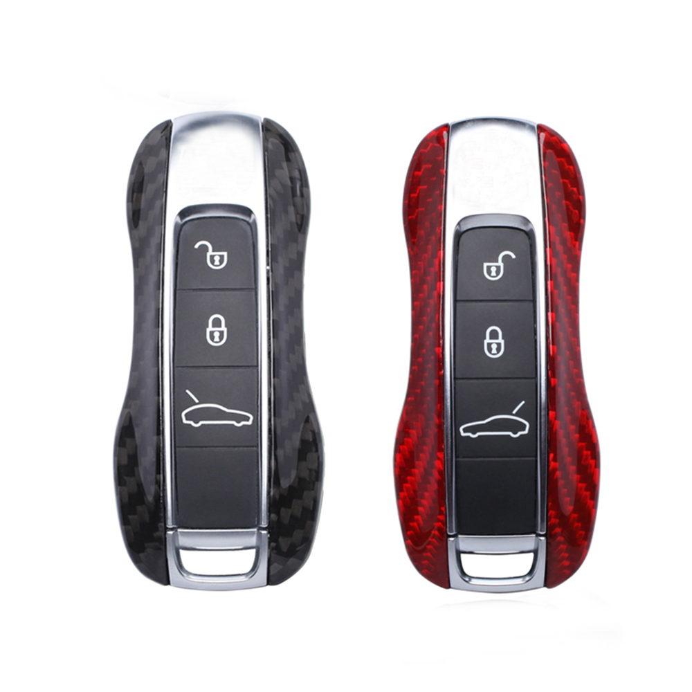 Carbon Fiber Remote Fob Key Case Shell Cover For Porsche Panamera 970 971 Cayenne Macan Boxster