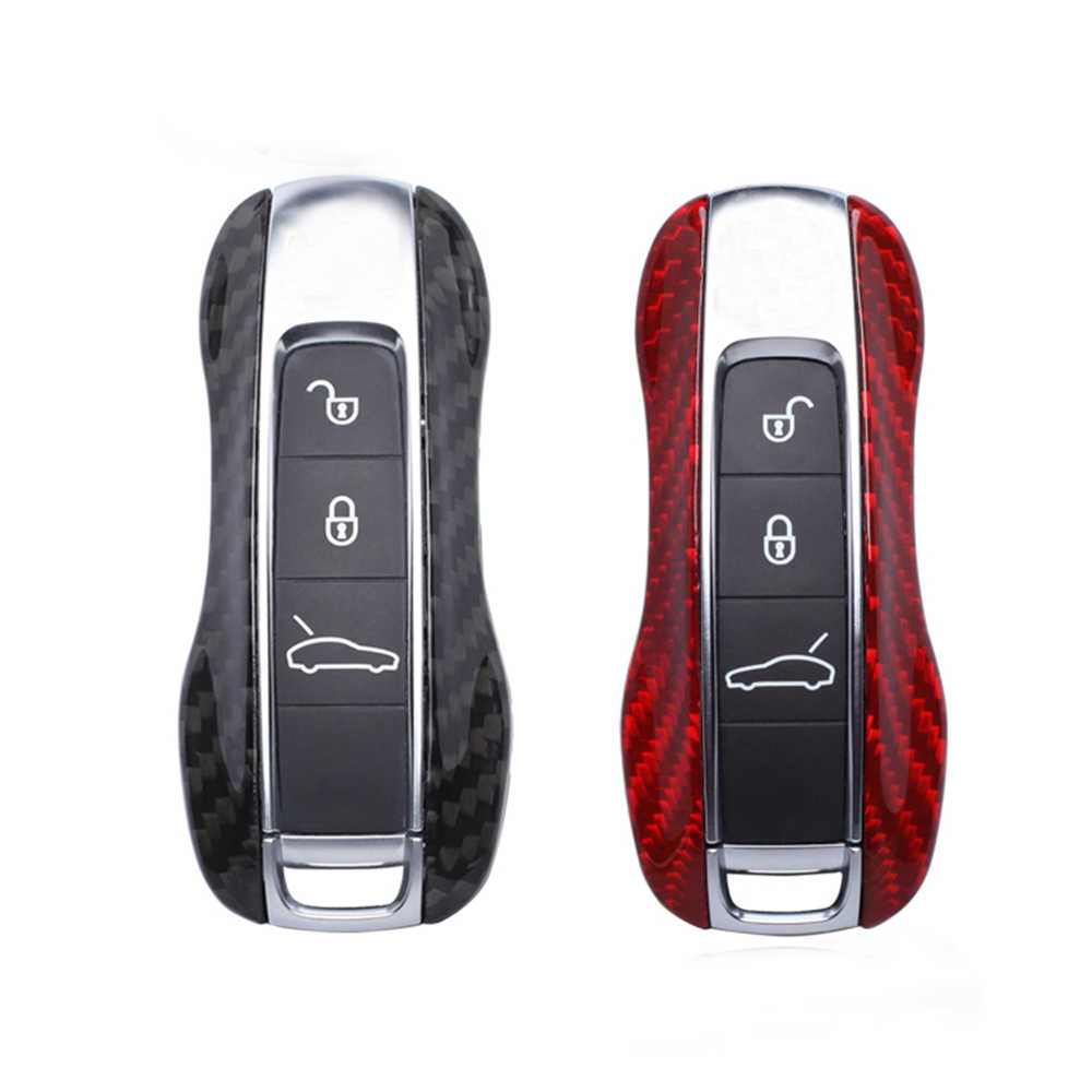 Carbon Fiber Remote Fob Key Case Shell Cover Voor Porsche Panamera 970 971 Cayenne Macan Boxster Cayman 981 982 718 991 911 918