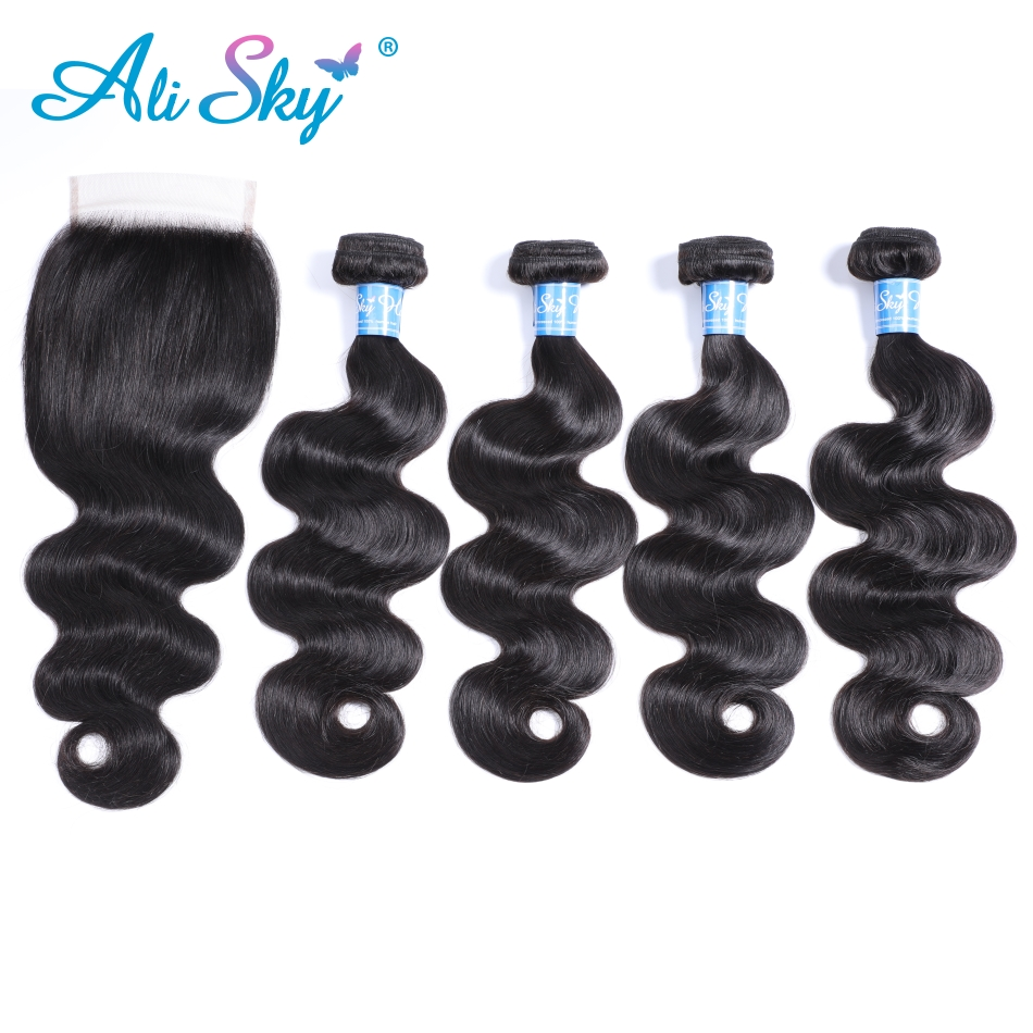 Ali sky Pre colored nonremy Hair Bundles With Closure Indian 100 human Hair Body wave 4