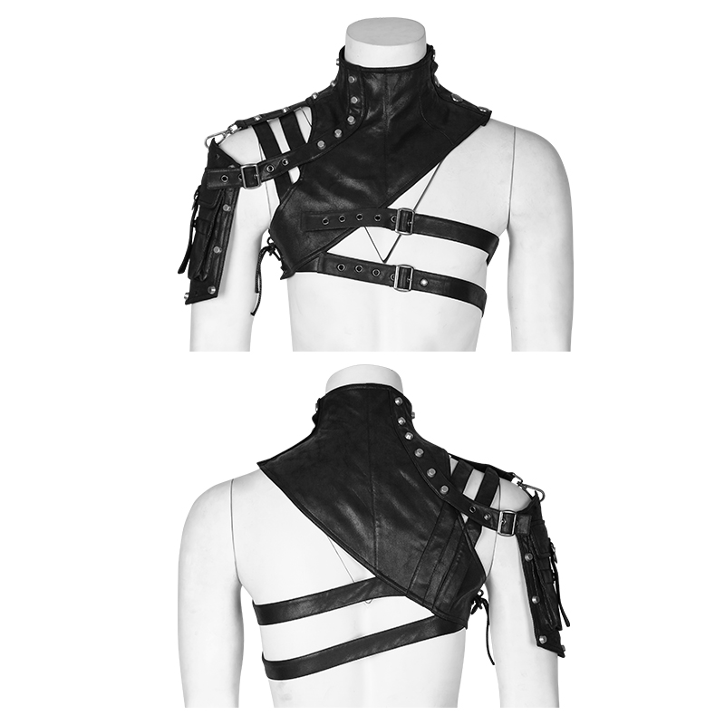 Heavy Punk Leather Soldier Close-fitting One Shoulder Armor Steampunk Men's Accessory High Collar Cape with Pocket Sexy Sets