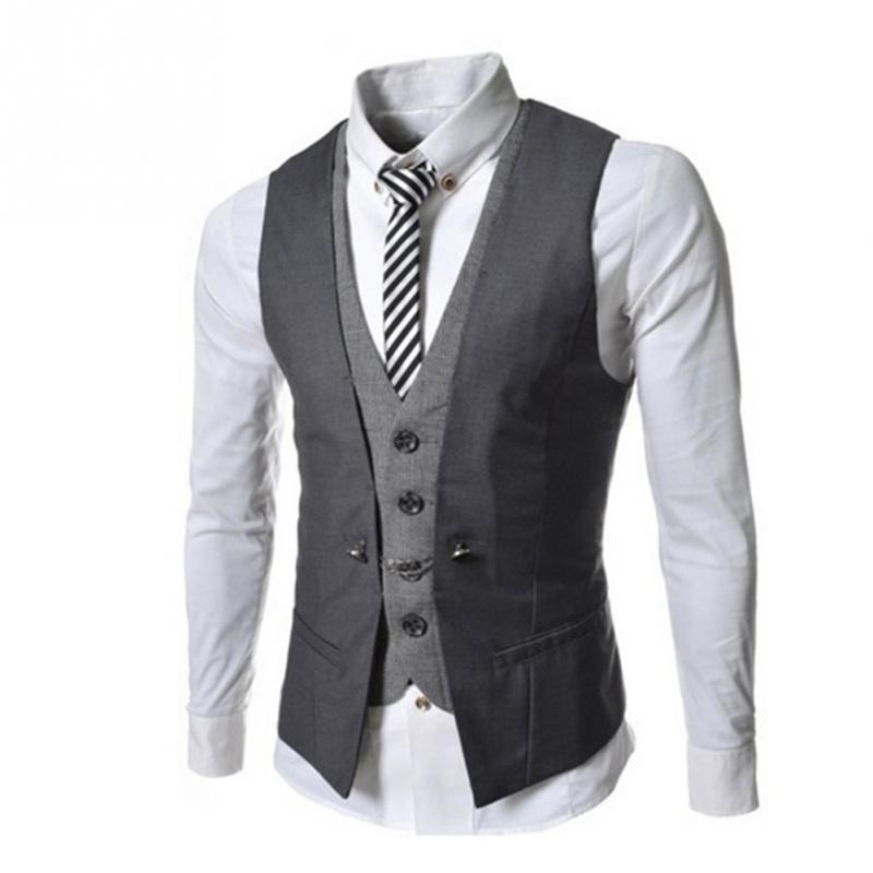 Causal Waistcoat Men Slim Sleeveless Formal Coat Business Suit Vest ...