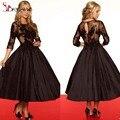 Vintage Black Lace mãe da noiva 2016 vestidos de comprimento chá com pescoço da colher 3/4 mangas apliques de tafetá saias vestido de baile