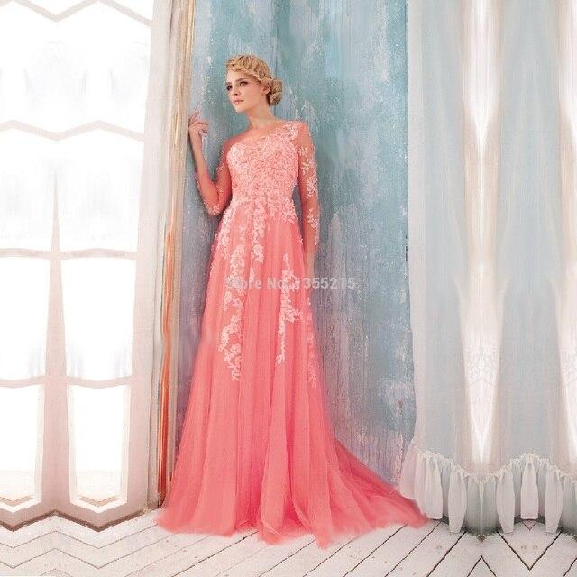 Custom Long Sleeve Formal Dresses Coral Prom Dress Elegant Long