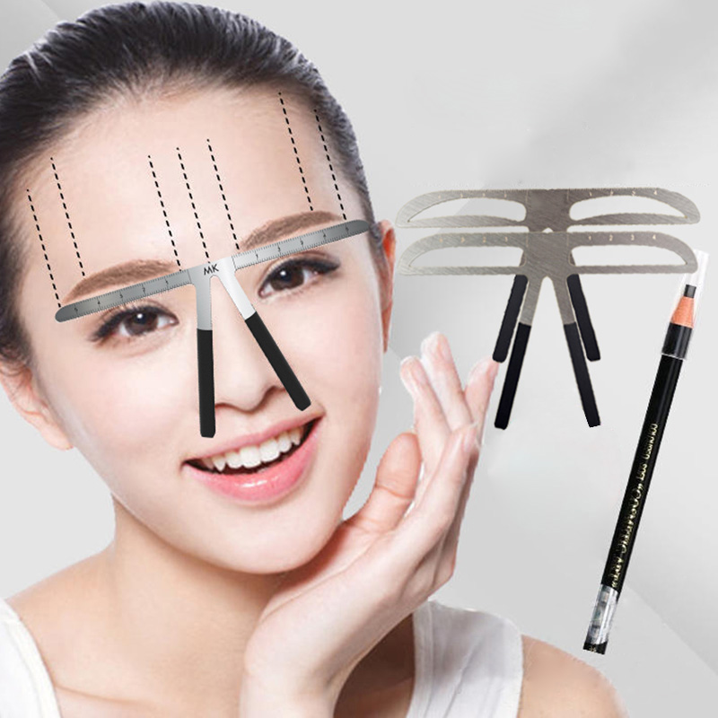 Fashion Eyebrow Tattoo Stencils Microblading Reusable Makeup Brow Measure Eyebrow Guide Ruler Permanent Tools
