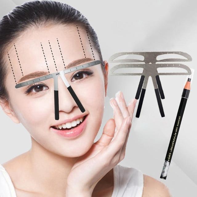 Fashion Eyebrow Tattoo Stencils Microblading Reusable Makeup Brow Measure Eyebrow Guide Ruler Permanent Tools