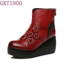 Handmade Shoes For Women Warm Velvet Genuine Leather Ankle Boots Vintage Flower Mom Women's Shoes Hight Heels Boots