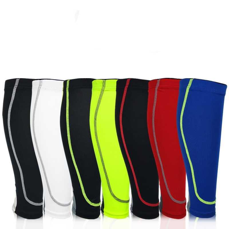 1 ペアバスケットボールサッカー脚スリーブカーフ圧縮サイクリングすねガード UV プロテクターサッカーフィットネス calcetines