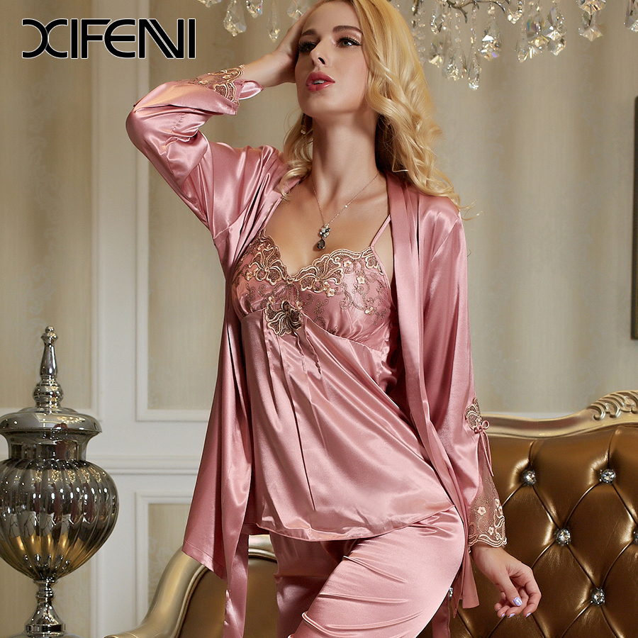 XIFENNI Silk Pyjamas Pajamas Sets Womens Luxury Lace Sexy V-neck Sleepwear  3pcs Ladies Silk Pajamas Sets S-3XL 8d8ec0156