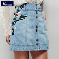 Denim skirts 2017 Spring Summer high waist skirt casual floral embroidered ladies jean skirts women Clothing High Quality