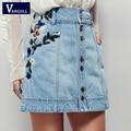 Saias jeans 2017 Primavera Verão saia de cintura alta casual floral bordado das senhoras jean saias das mulheres Roupas de Alta Qualidade