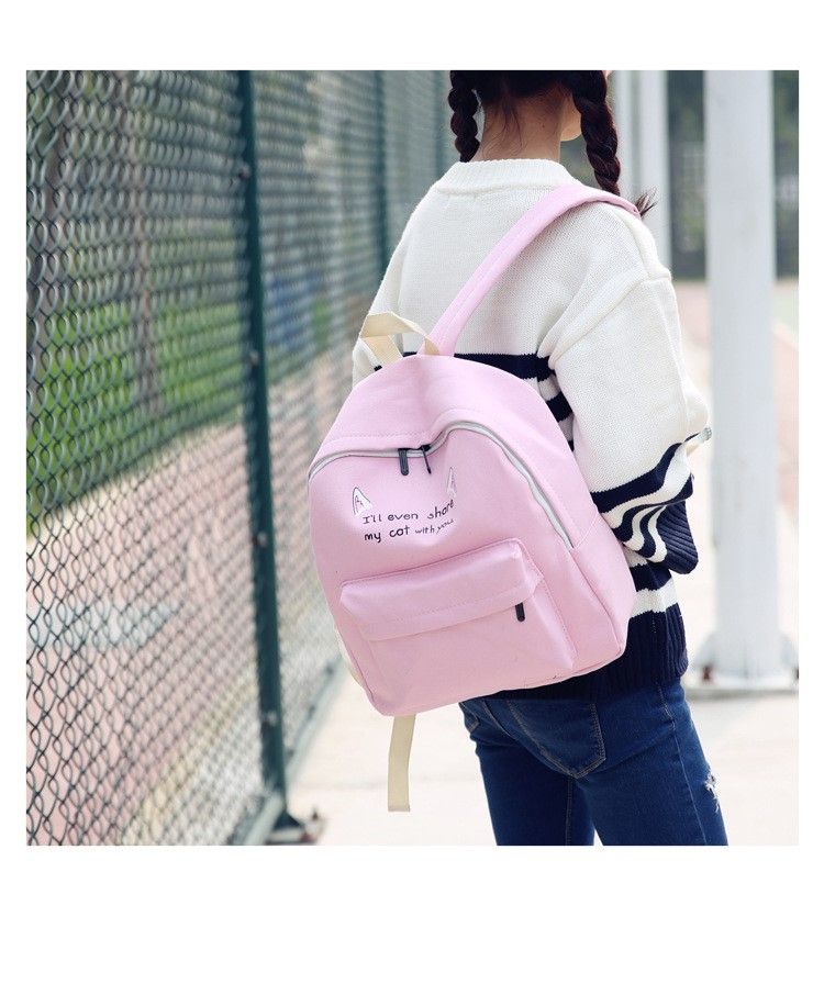 826f2d30c589 Girl Cartoon School Bags for Teenage College Students Women Schoolbag High  School Student Bagpack Cat Ear Printing Satchel