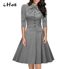 IHOT Women tartan Clothing fall fashion 3 4 Sleeve Button Checkered Bow Office Party Skater swing