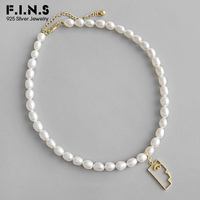 F.I.N.S Golden Abstract Face 925 Sterling Silver Pendant Necklaces Baroque Freshwater Pearl Choker Necklace Fine Jewelry