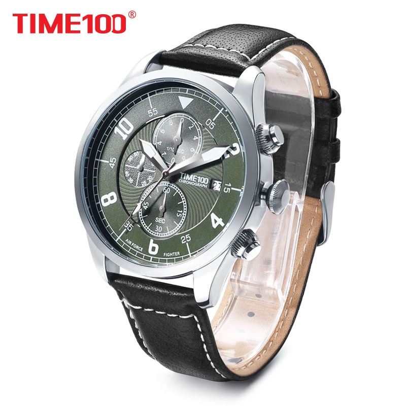 Time100 new Fashion Watch Men Multifunction Leather Strap men Quartz Watches Calendar Auto Date Business Casual Wrist Watches longbo brand new arrival leisure business series watches leather date calendar men waterproof wrist watches 3015