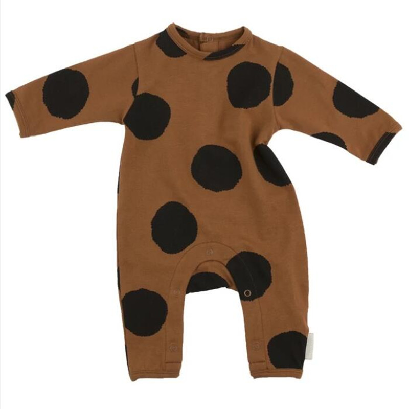 Newborn Baby Rompers Kids Clothing Fashion Autumn Tiny Cotton Infant Jumpsuit Long Sleeve Dot Print Girls Boys Rompers Costumes newborn baby rompers baby clothing set fashion cartoon infant jumpsuit long sleeve girl boys rompers costumes baby rompe fz044 2