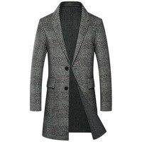 Plaid Men Winter Jacket Long Overcoats 50% Real Merino Wool Mens Wool Coat Thick Formal Turn Down Collar Trench Blend Coat Brand
