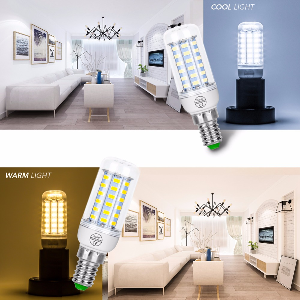 E14 LED Corn Bulb E27 220V Led Lamp 24 36 48 56 69 72leds Candle Bulb 240V SMD5730 Led Energy Saving Lights 3W 5W 7W 12W 15W 18W