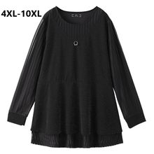 Plus Size 4XL 6XL 8XL 10XL Women Long Sleeve Patchwork Spring T-shirt Shining Big Size Casual Tops Sliming Black Shirt For Mujer(China)