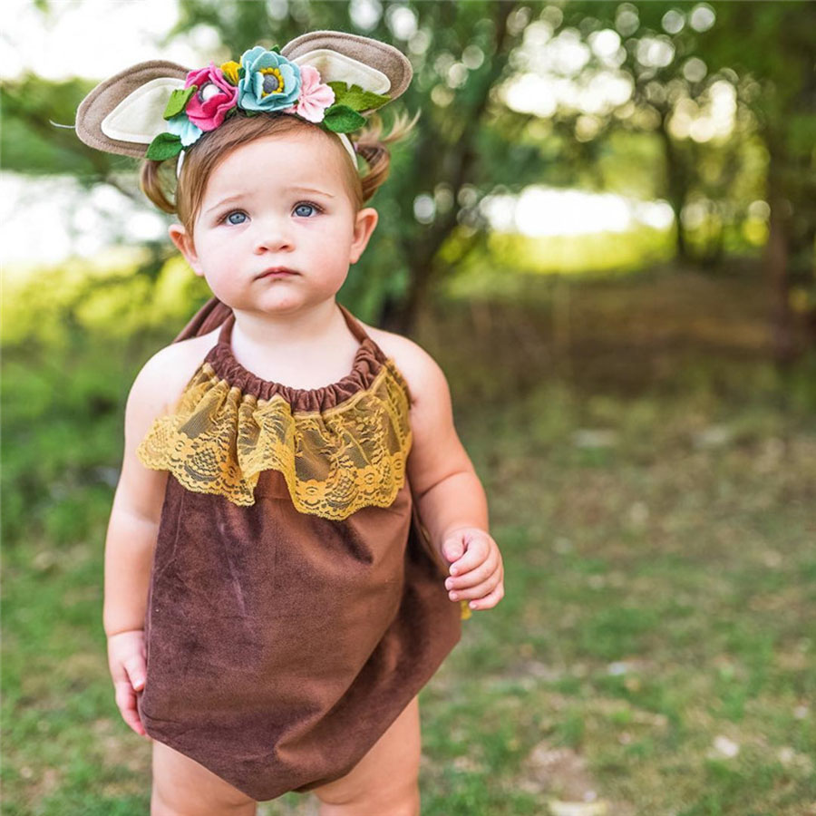 Lato noworodka dziewczynek koronki body bawełna bez rękawów - Odzież dla niemowląt - Zdjęcie 3