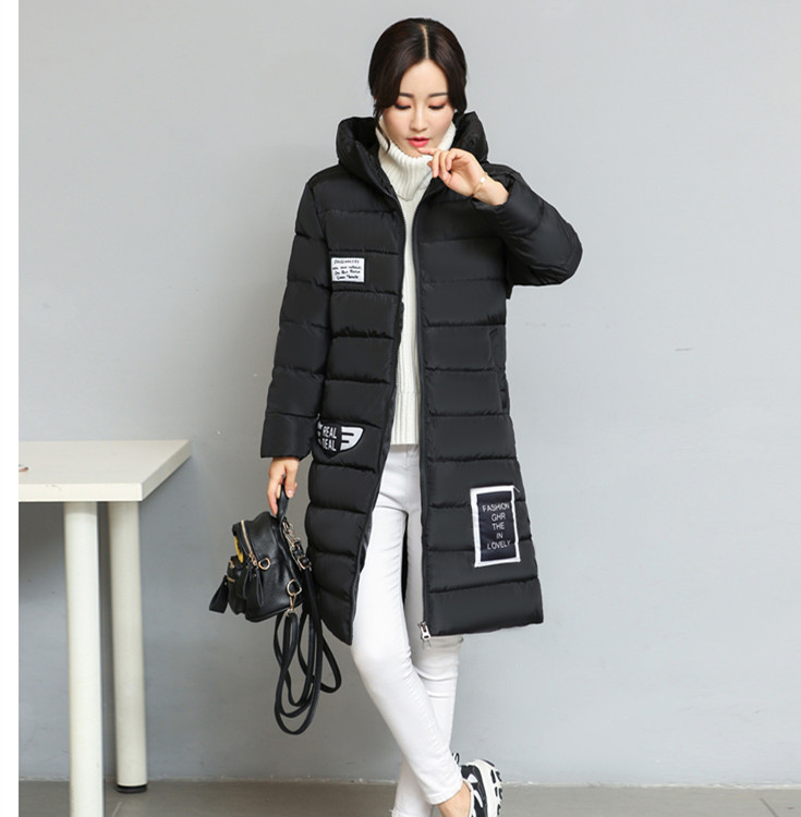 Women Winter New Detail Long Sleeve Padded Hooded Coat Fashion Letter Print Long Sleeve Hooded Coat pearl detail layered frill sleeve top