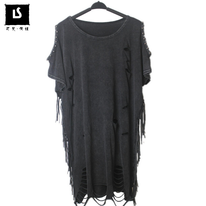 Summer t shirt Women Hole tassel long style tide brand cotton T shirt Top Hip hop