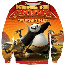 2019 Fashion Mens Outerwear 3d Print Cartoon Kung fu Panda Print Pullover  Sweatshirt Men Autumn Tops цена