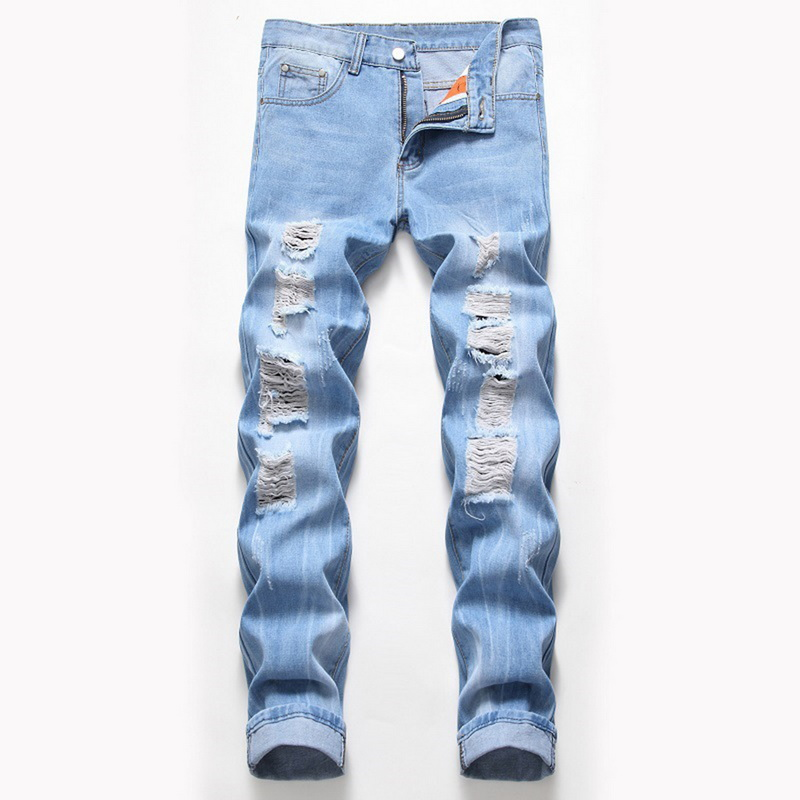 Men Sexy Ripped Jeans Casual Fashion Patchwork Hollow Out Beggar Cropped Jeans Pants Cowboys Demin Pants Hip Hop Streetwear