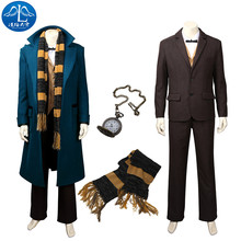 2017 Newt Scaman Cosplay Costume Fantastic Beasts and Where to Find Them Roleplay Full Suit Men Adult Plus Size Jacket fantastic beasts and where to find them coloring and creativity book