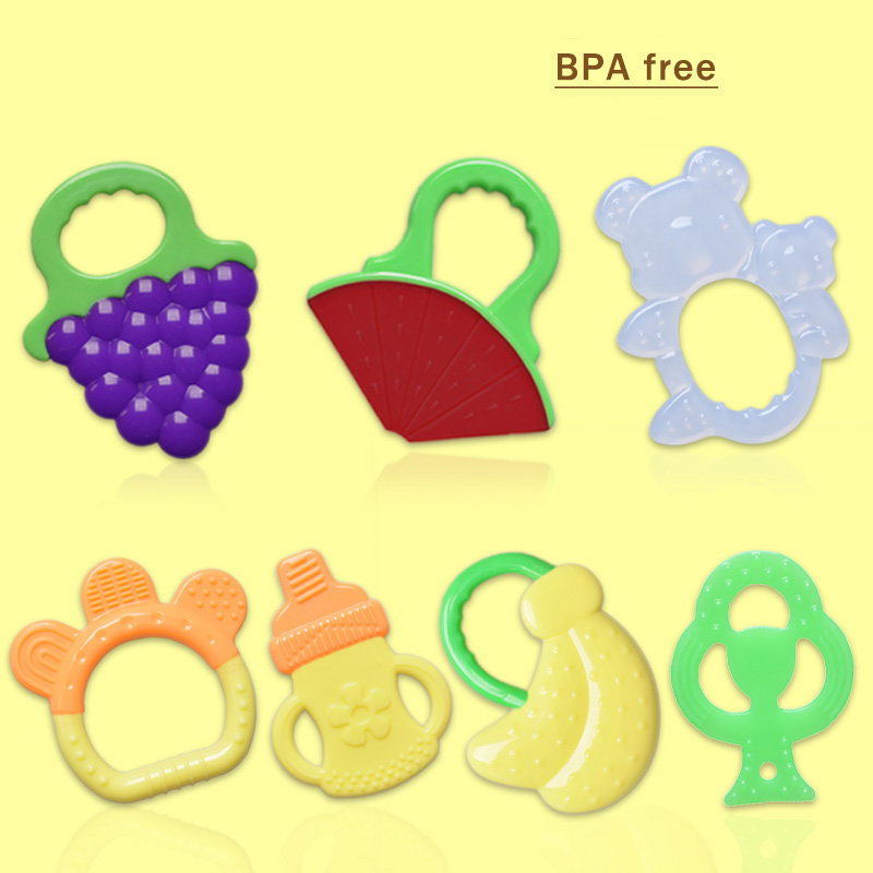 Fruits Teether teething toy Vegetable silicone kid Rattles child care Tooth Grape strawberry banana Training Toddler