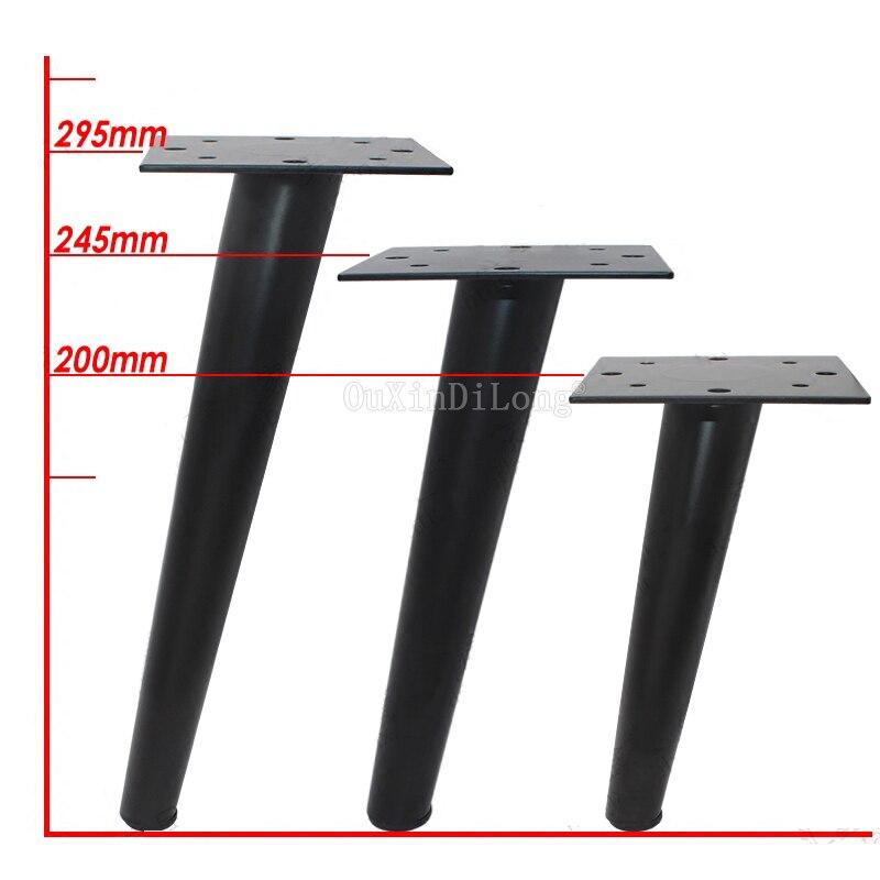 2 pièces noir métal canapé jambes meubles pieds canapé lit Table bibliothèque armoire remplacement 8