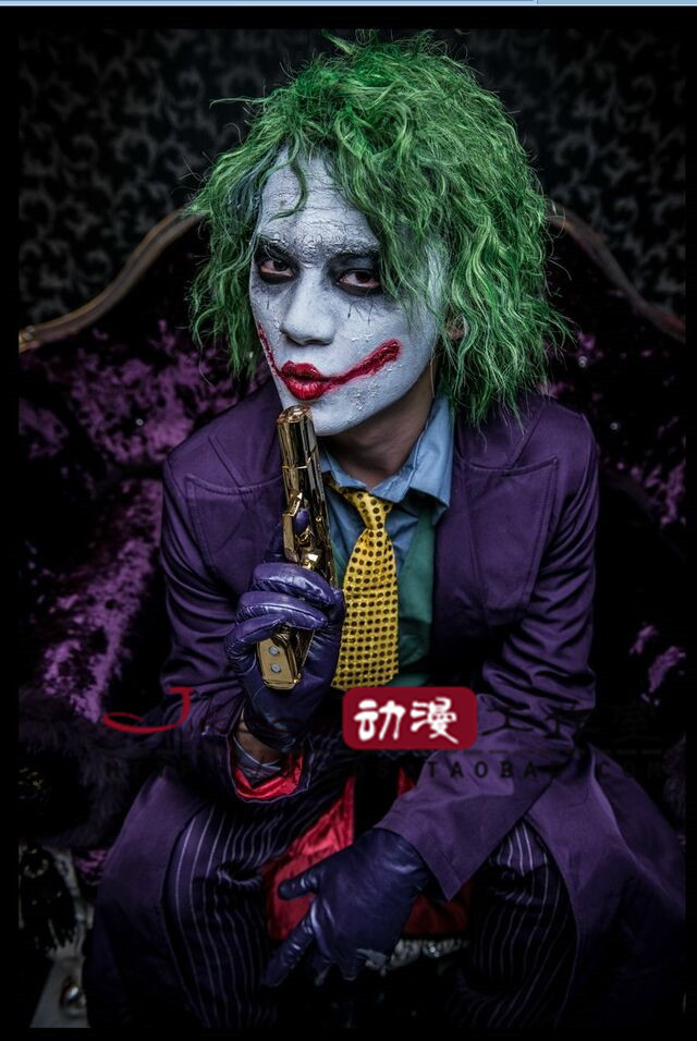 Customized Adult Batman Dark Night Joker Costume Wig Full Outfit Set Halloween Cosplay