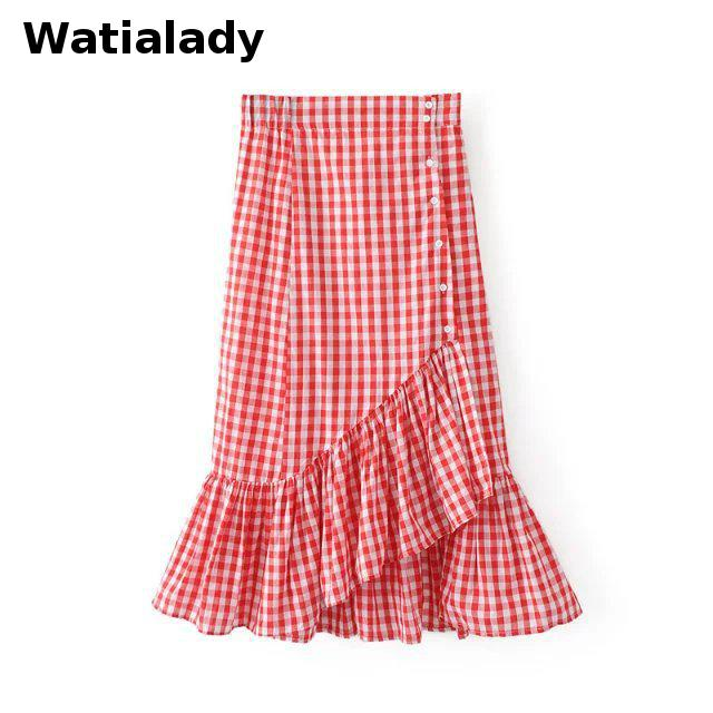 Watialady Red Plaid Skirt Casual Women's 2017 Summer High Waist Skirt Elegant Fashion Long Skirts