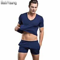 BabYoung 2017 Summer Mens Pyjama Sexy V Neck T Shirt And Short Boxers Sleepwear Cotton Male