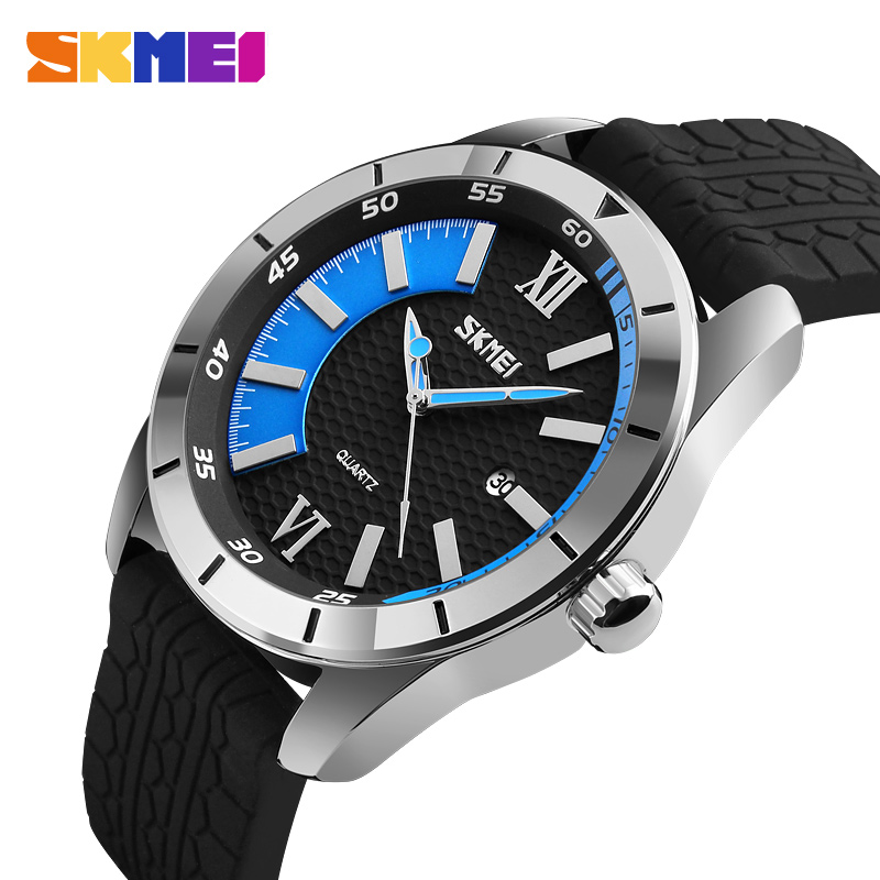 SKMEI Men Quartz Watch 30M Waterproof Complete Calendar Sport Watches Silicone Strap Fashion Wristwatches Relogio Masculino 9151