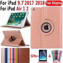 360 градусов вращающийся кожаный чехол для смарт-чехол для Apple iPad Air 1 Air 2, 5, 6, новый iPad 9,7 2017 2018 5th 6th поколения Coque Funda