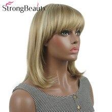 StrongBeauty Gerade Synthetische Perücken Medium Lange Haar mit Ordentlich Pony Frauen Perücke Viele Farben