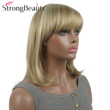 StrongBeauty Straight Synthetic Wigs Medium Long Hair with Neat Bangs Women Wig Many Colors
