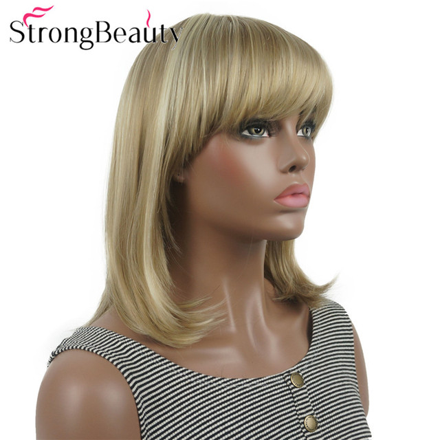 StrongBeauty ישר סינטטי פאות בינוני ארוך שיער עם פוני מסודר נשים פאת רבים צבעים