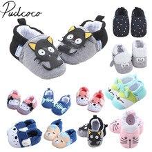 Новая Брендовая детская обувь для новорожденных мальчиков и девочек с изображением животных, детская нескользящая Мягкая подошва, милая теплая обувь для малышей с изображением животных