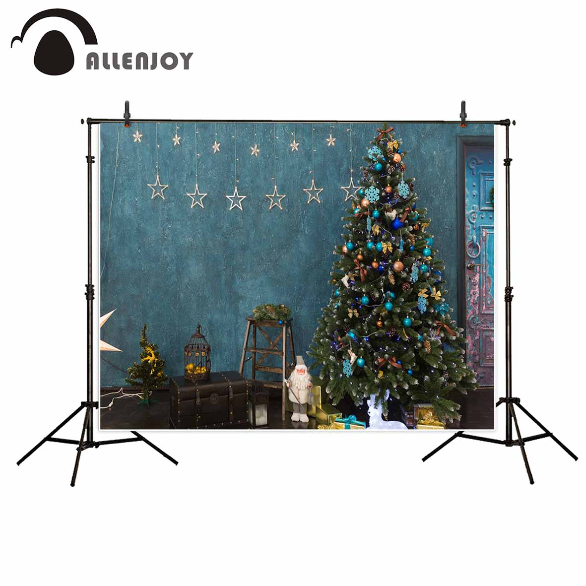 Allenjoy photography backdrop Blue Christmas Tree Santa Claus Decorative Star Gifts background photo studio camera fotografica