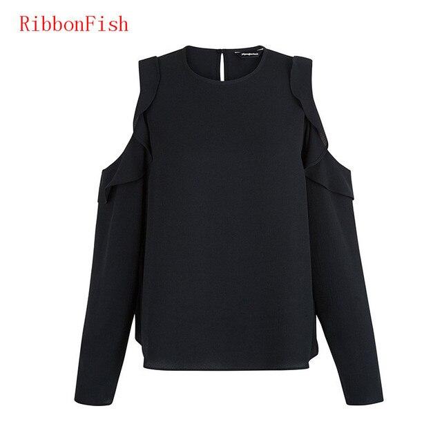 2017 Women Summer Chiffon Blouses Shirts Lady Girls Casual Off Shoulder Long Sleeve Ruffles O-Neck Blusas Plus Size S-6XL DF1055